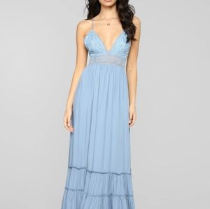 Light Blue Crochet Ruffled Bottom Maxi Dress Large